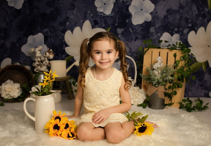 Kate Navy Flower Spring Backdrop Designed by Megan Leigh Photography