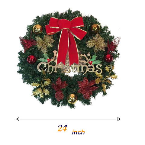 Kate Christmas 24 Inch Holly Outdoor Christmas Wreaths Garland Ornaments Red Berry for Windows