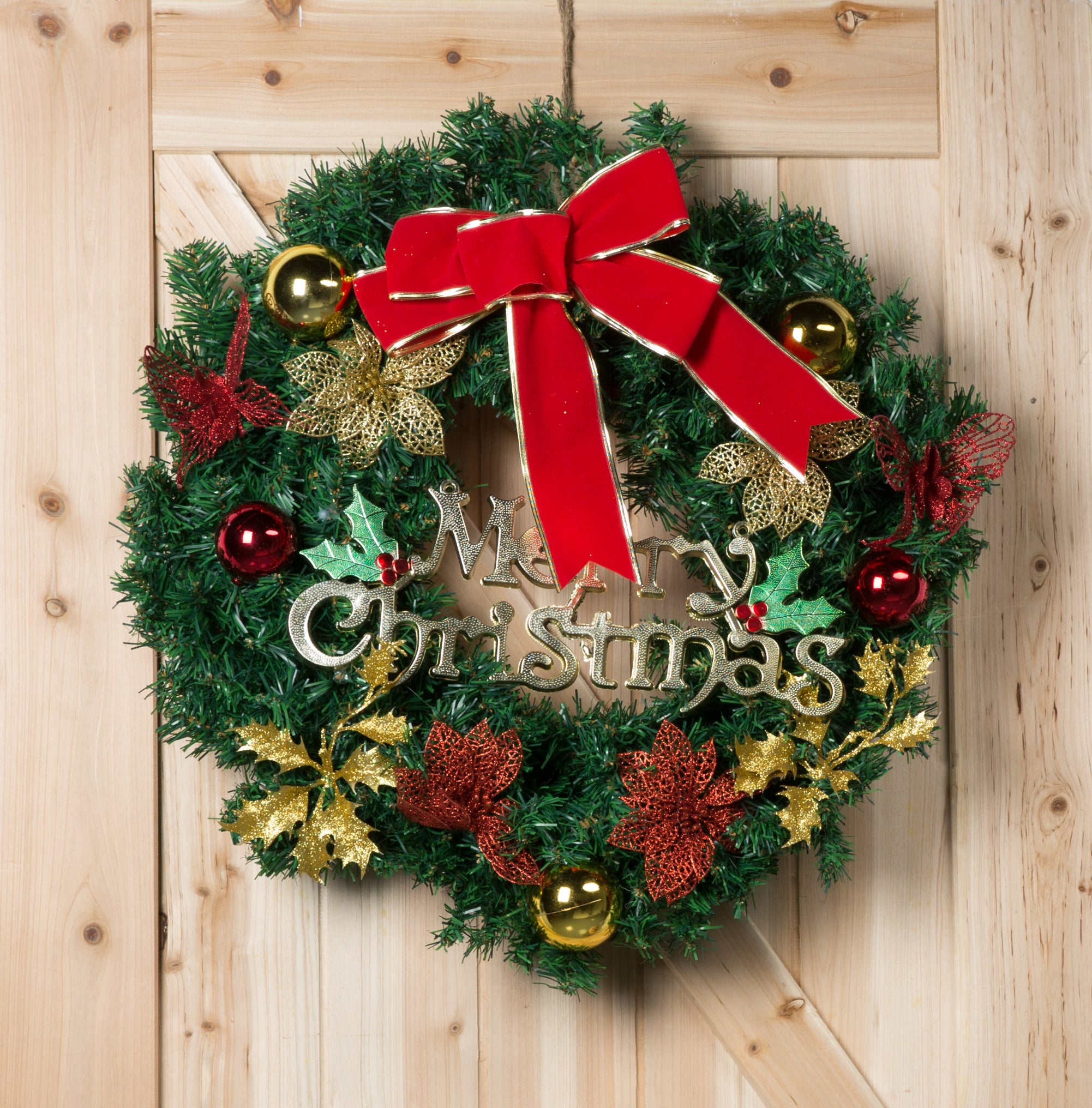 Load image into Gallery viewer, Kate Christmas 24 Inch Holly Outdoor Christmas Wreaths Garland Ornaments Red Berry for Windows