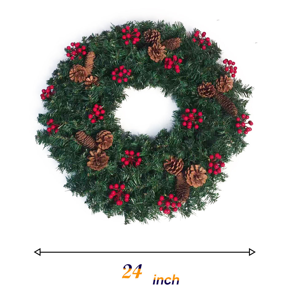 Load image into Gallery viewer, kate Christmas Wreaths Props 24 inches Winter Pine Garland for Front Door Photography
