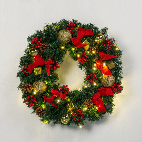 Kate 24 inches Christmas Wreaths Bows with LED Outdoor Decorations with Berries props