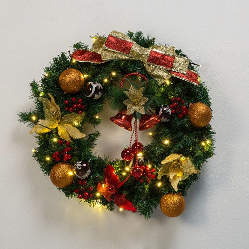 Kate 24 Inch Christmas Wreaths with LED Light Craft Bow Flower Bells Outdoor for Front Door