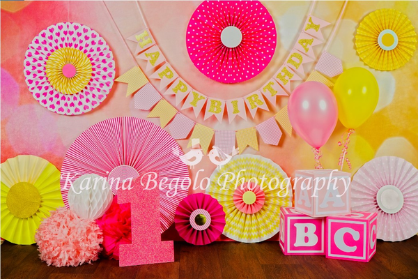 Kate 1st Birthday Flowers Backdrop designed by Karina Begolo photography - Kate backdrops UK