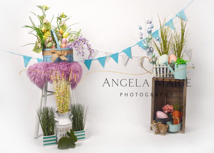 Easter with Floral Decoration and Rabbit  Backdrop