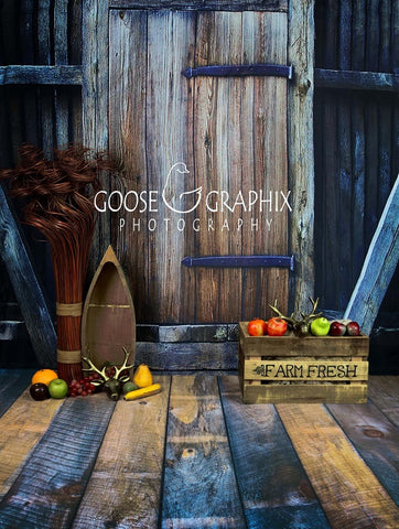 Barn Door Harvest Wooden Backdrop