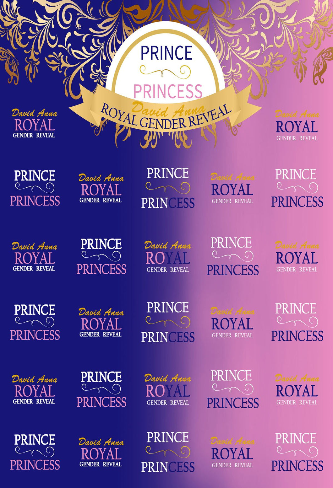 Gender Open Party Blue Pink Backdrop Prince or Princess Step and Repeat - Kate backdrops UK
