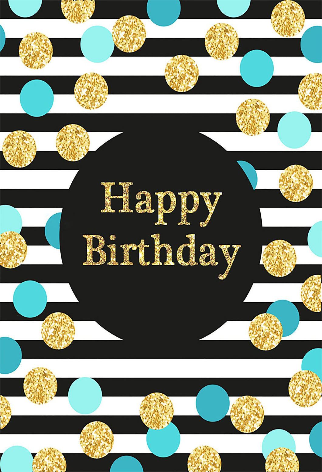 Birthday Party Black and White Stripe Backdrop with blue  golden  Dots - Kate backdrops UK