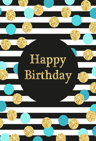 Katebackdrop:Birthday Party Black and White Stripe Backdrop with blue  golden  Dots