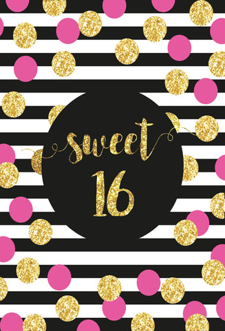 Birthday Party Black and White Stripe Backdrop with pink golden  Dots - Kate backdrops UK