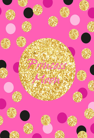 Birthday Party Pink backdrop with black golden and white Dots - Kate backdrops UK