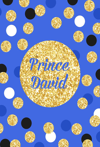 Birthday Party Blue backdrop with black golden and white Dots - Kate backdrops UK