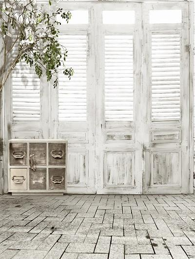 Katebackdrop£ºKate White Brick Floor Wooden Door Indoor Wedding Backdrops