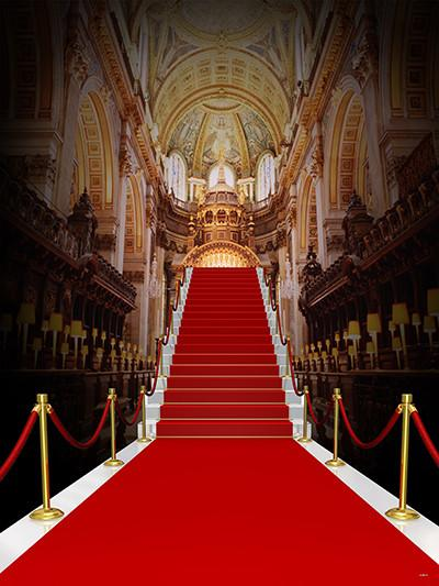 Load image into Gallery viewer, Katebackdrop£ºKate Red Carpet Golden Palace Indoor Backdrop For Wedding