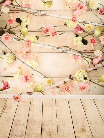 Katebackdrop:Kate Spring Scenery Wood Wall Colorful Flowers Branch Backdrop