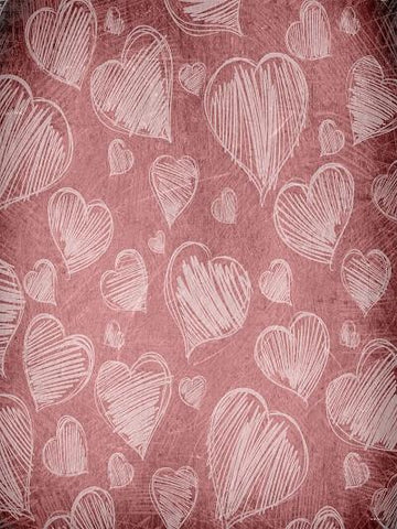 Katebackdrop:Kate Fabric Printed Pink Backdrop Love Heart Backdrop for Valentine's Day