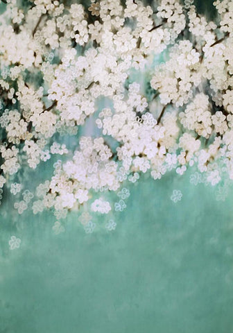 Katebackdrop:Kate Retro Style Green With White Flowers Backdrops for Children
