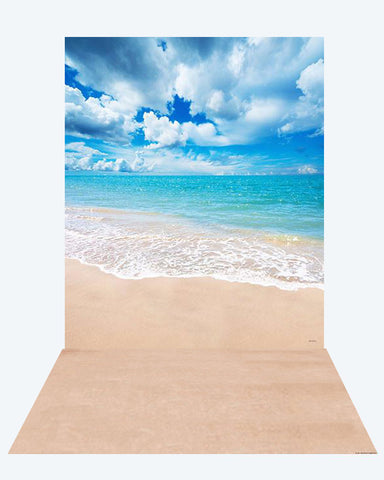 Kate Summer Sea Cloudy Sky backdrop + Soft Summer Rubber Floor Mat