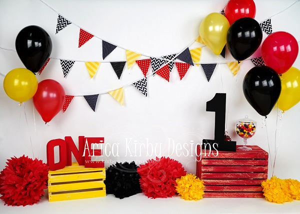 Kate Black and Red and Yellow Cake Smash of Baby backdrop for photography Designed by Arica Kirby