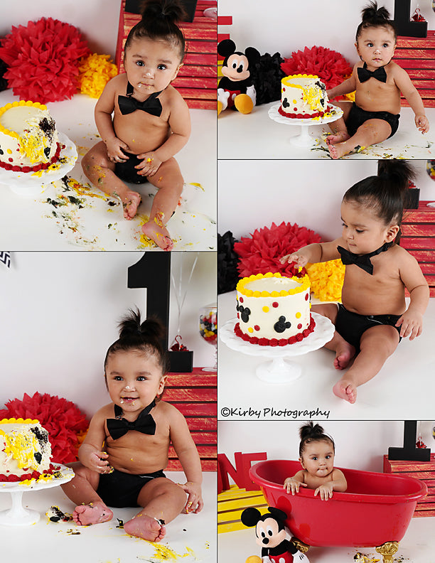 Load image into Gallery viewer, Kate Black and Red and Yellow Cake Smash of Baby backdrop for photography Designed by Arica Kirby