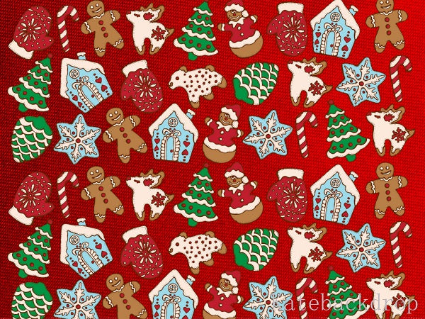 Christmas Gingerbread Cookies with Texture Red background Christmas Tree Snowflake Deer and Snowman Backdrop