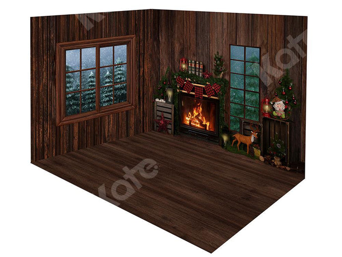 Kate Xmas Forest Wood Room with Fireplace Room Set