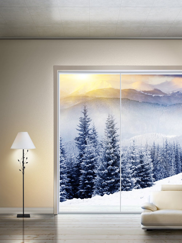 Kate Christmas window snow tree Interior Winter backdrop - Kate backdrops UK