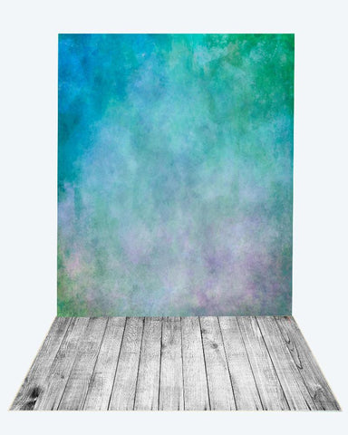 Kate green blue textured backdrop+gray wood floor mat