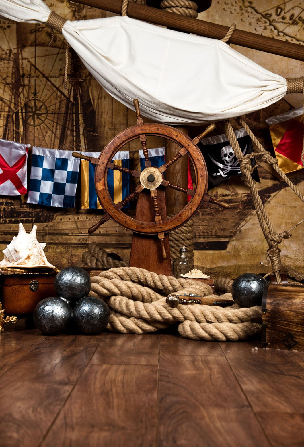 Kate Pirates Ship Photo Backdrop Deck With Steering Wheel Flag - Kate backdrops UK