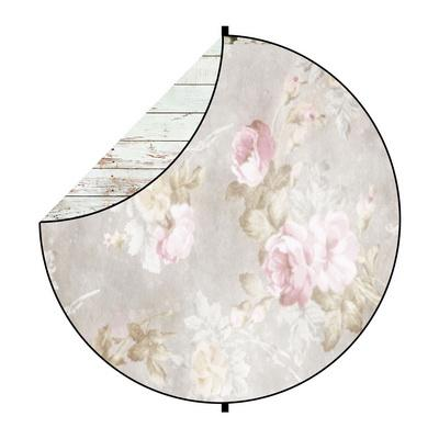 Kate White Wood/Flowers Round Mixed Collapsible Backdrop for Baby Photography 5X5ft(1.5x1.5m)