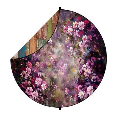 Kate Abstract Wood/Purple Flowers Round Mixed Collapsible Backdrop for Baby Photography 5X5ft(1.5x1.5m)