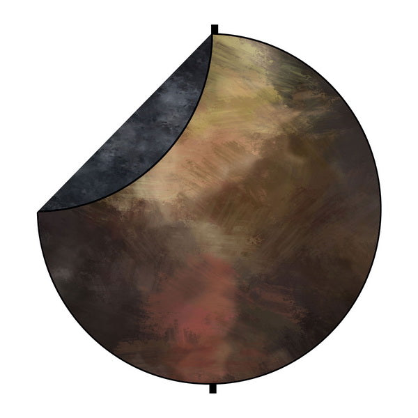 Kate Black/Brown Tone Abstract Mixed Round Collapsible Backdrop for Baby Photography 5X5ft(1.5x1.5m)
