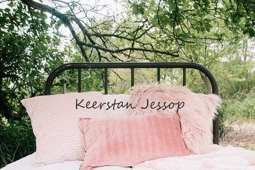 Kate Outdoor Headboard with Pink Pillows Family Backdrop for Photography Designed By Keerstan Jessop