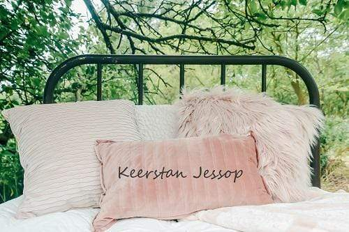 Kate Family Outdoor Headboard Pillows under Tree Backdrop for Photography Designed By Keerstan Jessop