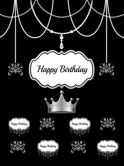 Kate Happy Birthday Black and White Pearl Crown Backdrops for Photography