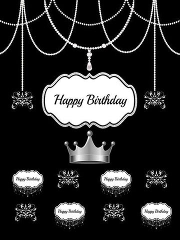 Birthday Party Black backdrop with Silver Crown - Kate backdrops UK