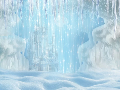 Winter Ice Frozen Snow Castle/Christmas Backdrop