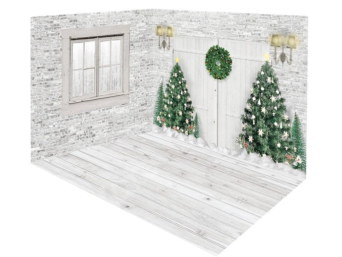 Kate Xmas White Door Christmas Tree Window Room Set