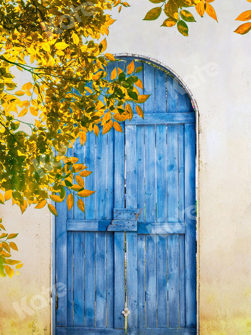 Kate Summer Blue Wooden Door With Leaves Backdrop Designed by Jia Chan Photography