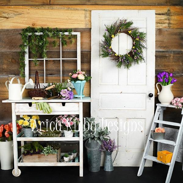 Kate Retro Door with Flowers Decoration Garden Shed Backdrop designed by Arica Kirby