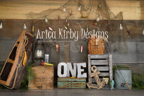 Kate Gone Fishing First Birthday Backdrop Designed by Arica Kirby