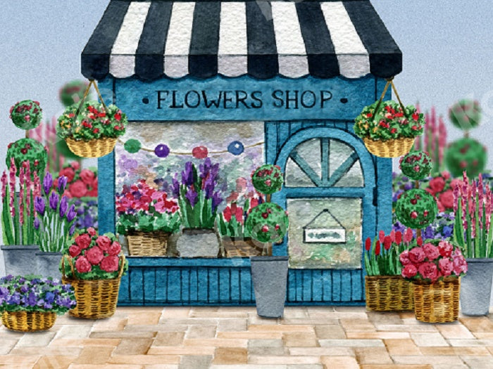 Spring Flower Shop Backdrop