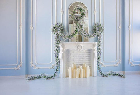 Kate Blue wall Spring Fireplace Backdrop designed by Jerry_Sina - Kate backdrops UK
