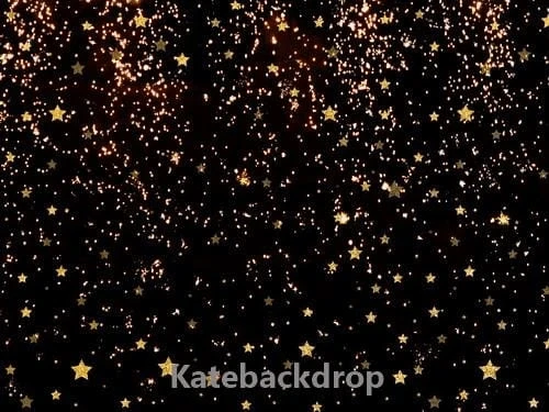 Kate Black Golden Stars Bokeh Children Backdrop Designed by Jerry_sina