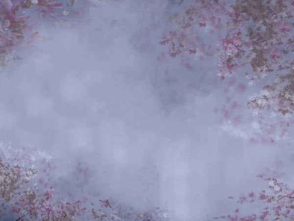 Kate Abstract Texture Cool Grey with Pink Flowers Backdrop for Photography Designed by Jerry_Sina