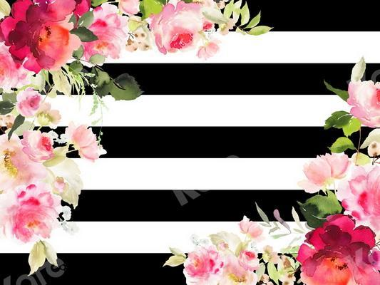 Kate Mother's Day Stripe with Flowers Backdrop Designed By JS Photography