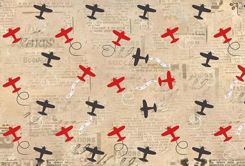 Kate Retro Background with Airplanes Baby Shower Backdrop for Photography designed by Jerry_Sina