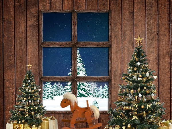 Christmas Trees Decoration Window View Wood Backdrop