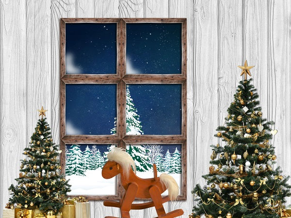 Christmas Room with Trojan White Wood Backdrop