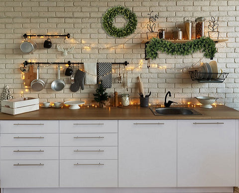 White Wall Christmas Kitchen Backdrop