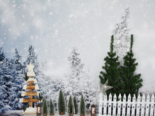 Winter Pine Trees Decorations Backdrop
